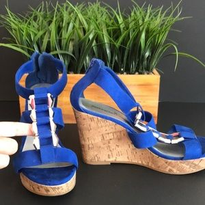 Bright blue wedge sandals